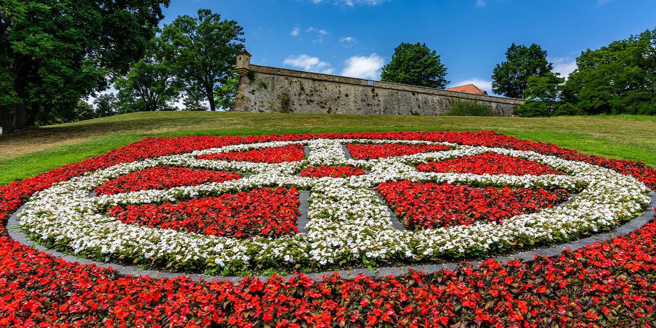Blumenflächen im bekannten egapark