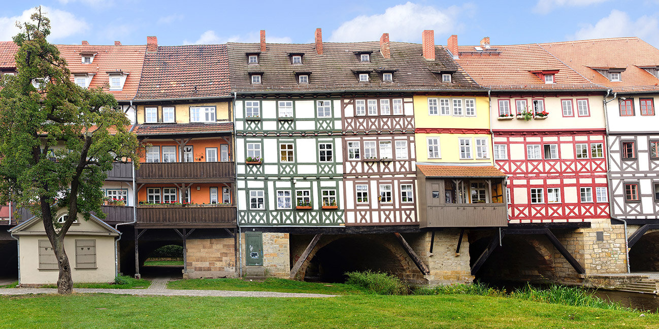 Die Krämerbrücke in der Stadt Erfurt