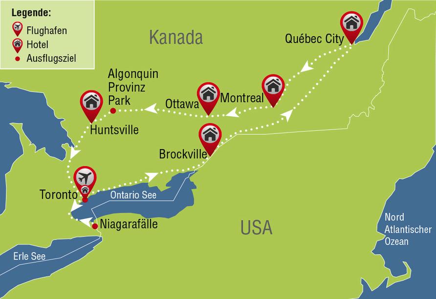 Entdeckerreise Kanada, Karte