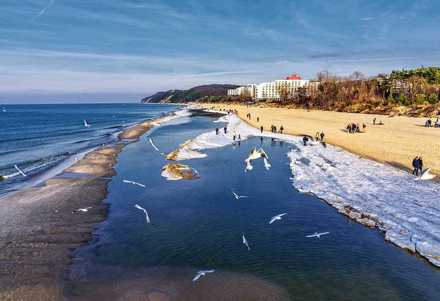 Hotel Rezydencja Korab in Misdroy an der polnischen Ostsee, Strand