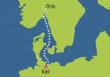 Color Line Minikreuzfahrt Kiel Oslo, Reiseroute