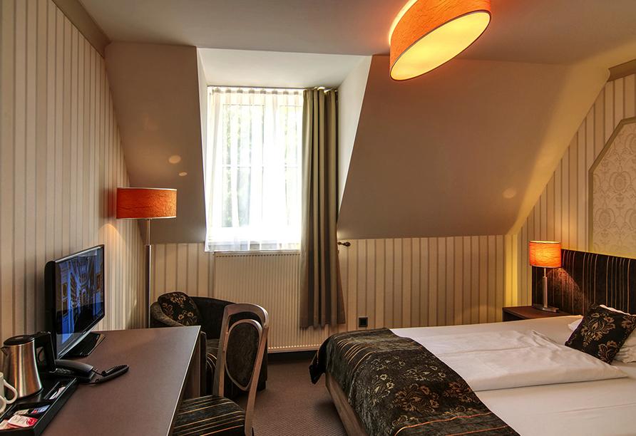 Kultur & Natur im Osten von Deutschland, Beispiel eines Doppelzimmers im Romantik Hotel Dorotheenhof Weimar