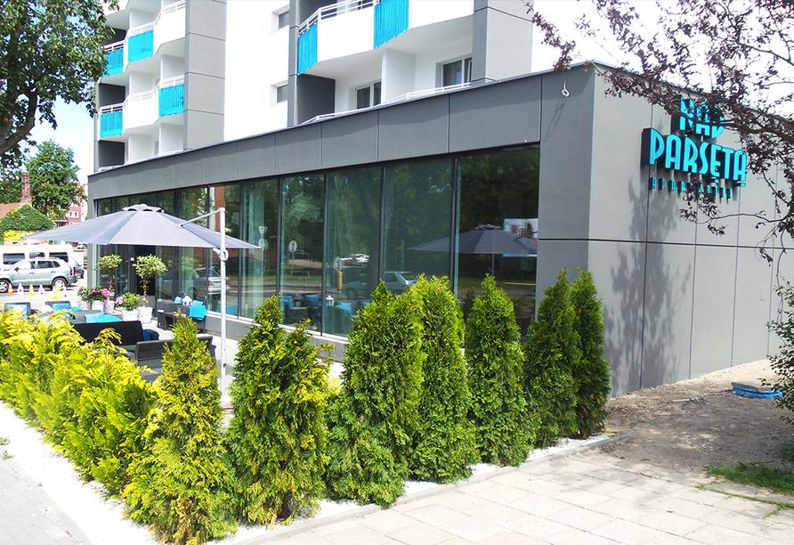 Aparthotel Nad Parseta in Kolberg an der polnischen Ostsee Eingangsbereich