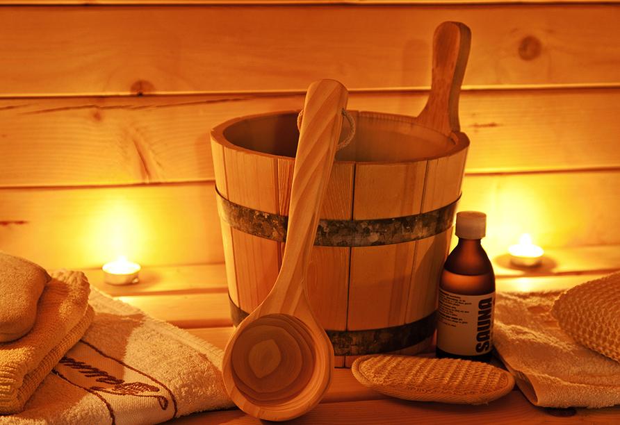 Entspannen Sie sich in der Sauna des Hotels.