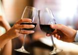 Waldhotel Hubertus in Eisenfeld, Wein zum Abendessen