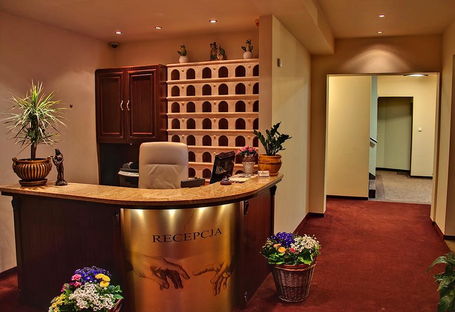 Hotel Villa Martini in Misdroy an der polnischen Ostsee, Rezeption