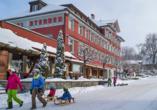 Hotel Sternen, Unterwasser, Toggenburg, Schweiz, Außenansicht, Winter