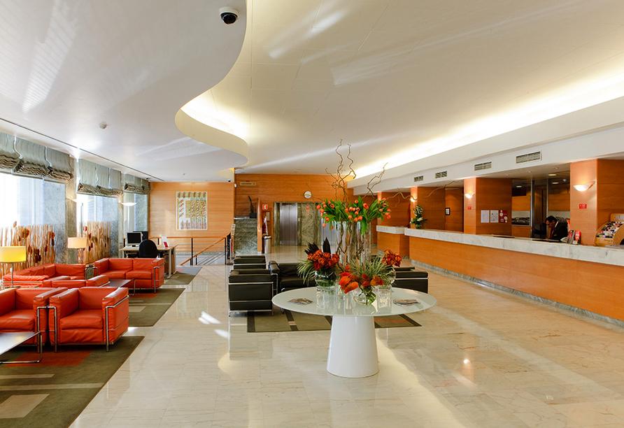Die gemütliche Lobby im Hotel Roma