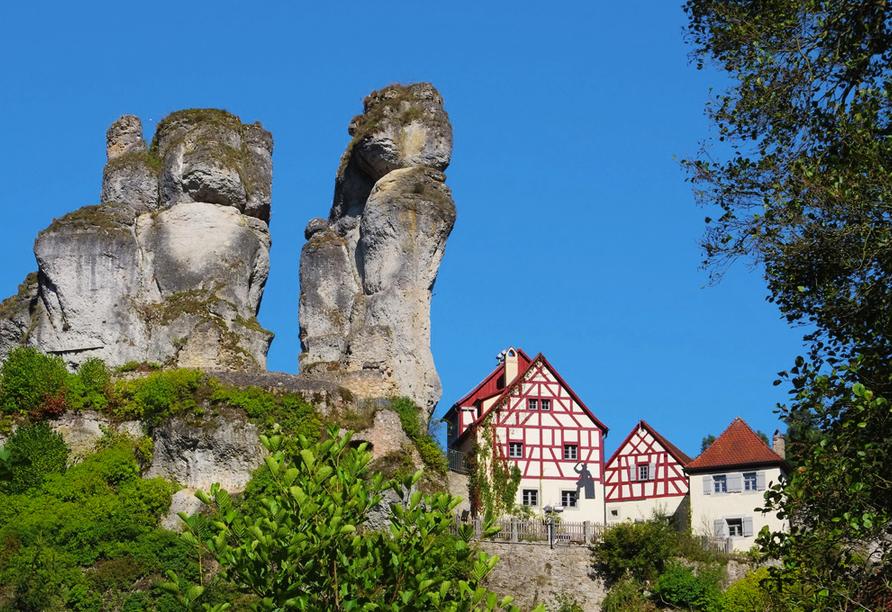 Landpension Postwirt in Kirchensittenbach in Mittelfranken, Ausflugsziel Tüchersfeld