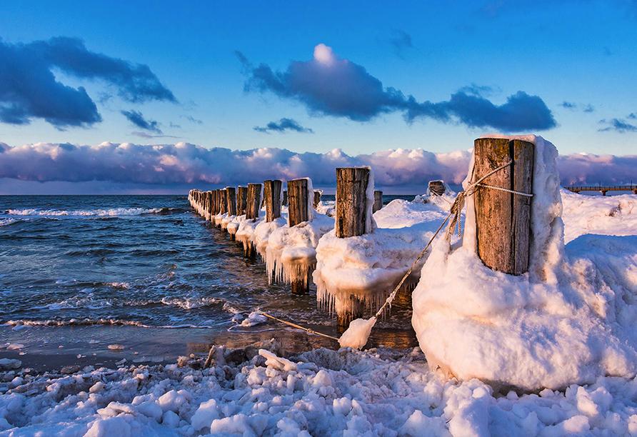 Ferienpark Benz Ostsee, Verschneite Buhnen