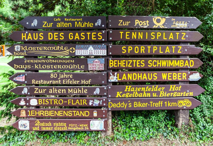 Hotel Klostermühle in Heimbach in der Eifel Wegweiser