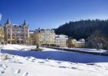 Golf Hotel Morris in Marienbad in Tschechien, Winterlandschaft