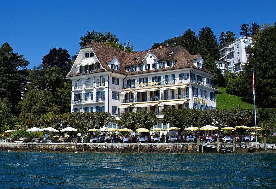 Rundreise Schweizer Seenzauber, Außenansicht des Hotels Central am See & Hotel Frohburg