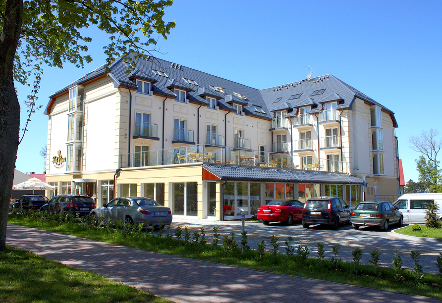 Hotel Krol Plaza Spa & Wellness in Jaroslawiec an der polnischen Ostsee, Außenansicht