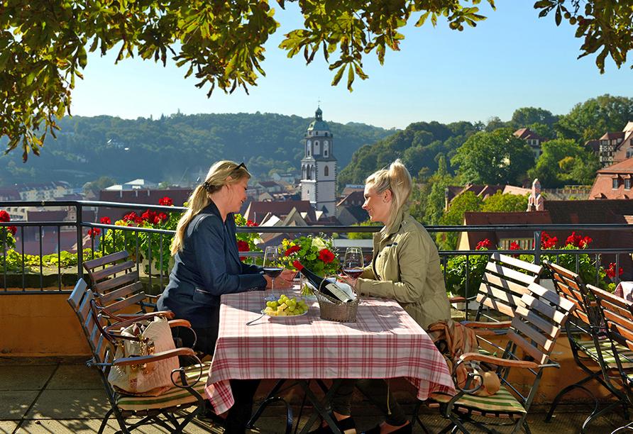 Romantikhotel Burgkeller in Meißen Sachsen, Terrasse