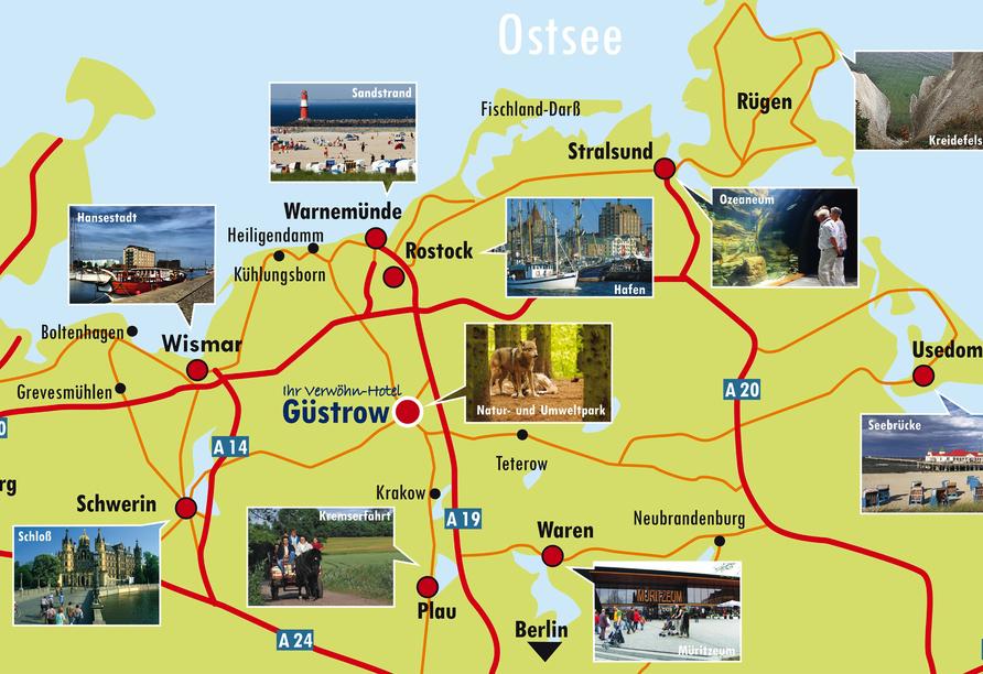 Hotel am Tierpark in Güstrow in Mecklenburg, Karte