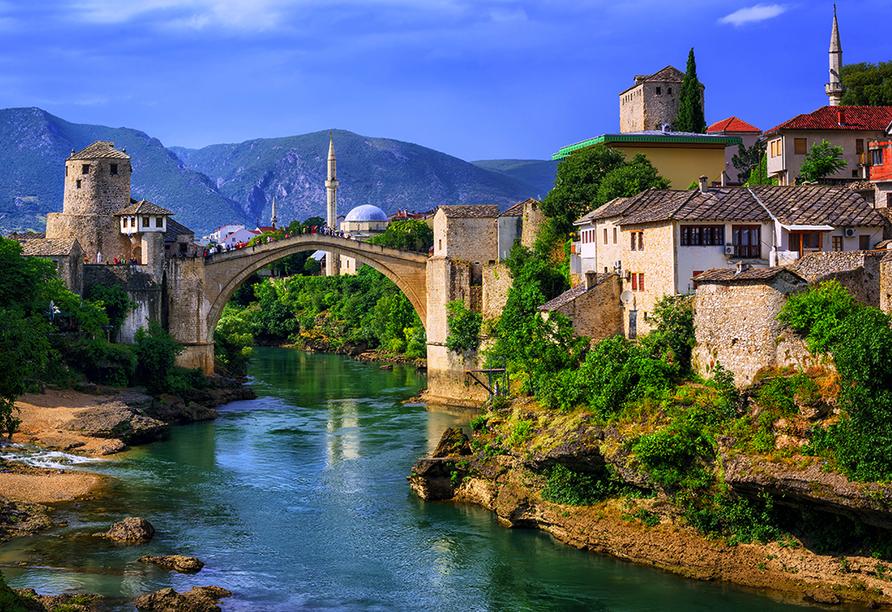 In der Stadt Mostar werden Sie den orientalischen Charme spüren.