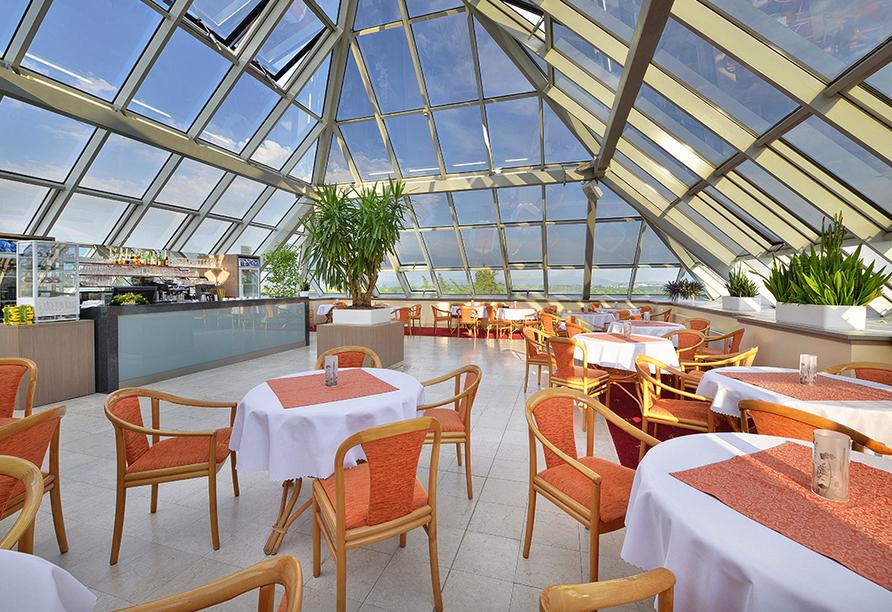 Kurhotel Pyramida 1, Franzensbad, Tschechien, Dach-Café