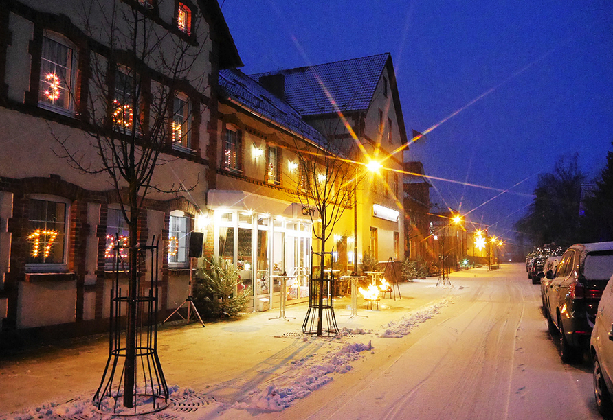 City Hotel Welzow in der Lausitz, Außenansicht im Winter