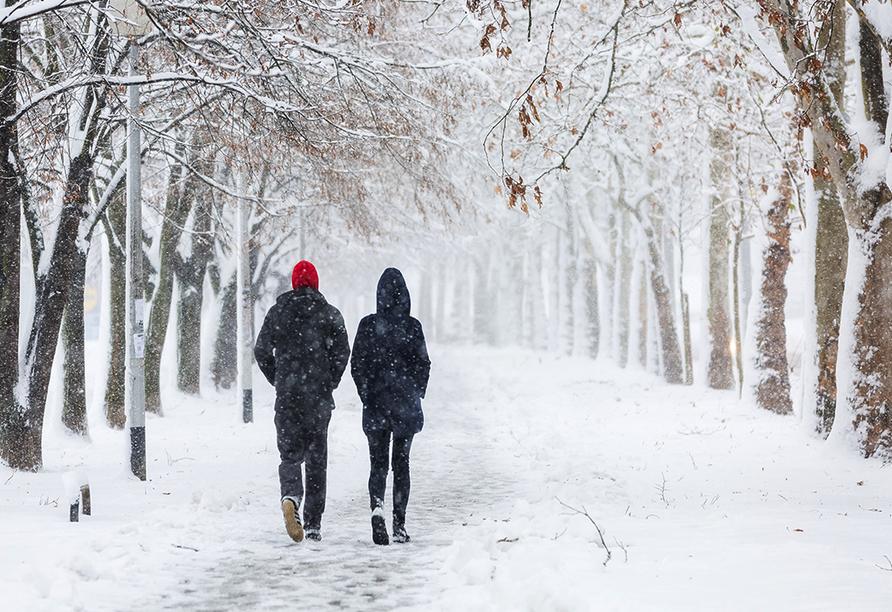 City Hotel Welzow in der Lausitz, Paar beim Winterspaziergang im Wald