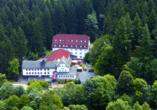 Hotel Rodebachmühle in Georgenthal im Thüringer Wald Luftaufnahme