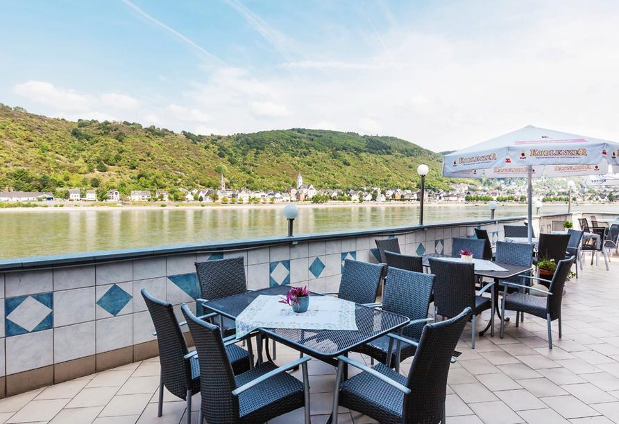 Hotel L´Europe Boppard, Terrasse mit Rheinblick