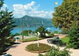 Park Hotel Jolanda in San Zeno di Montagna am Gardasee, Hotelgelände Ausblick