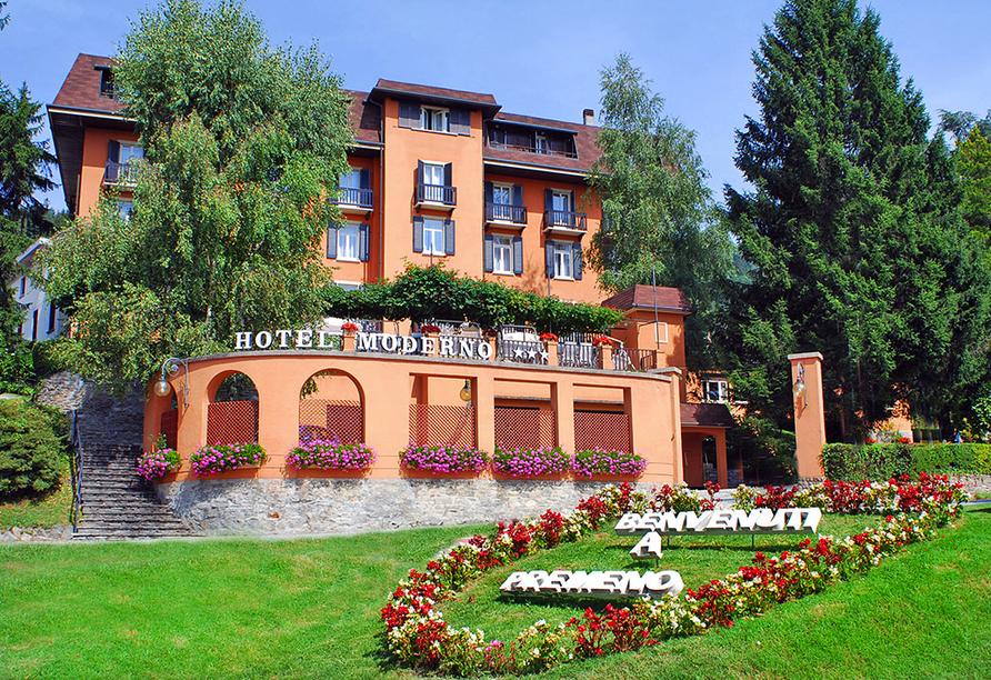 Hotel Moderno in Premeno, Außenansicht