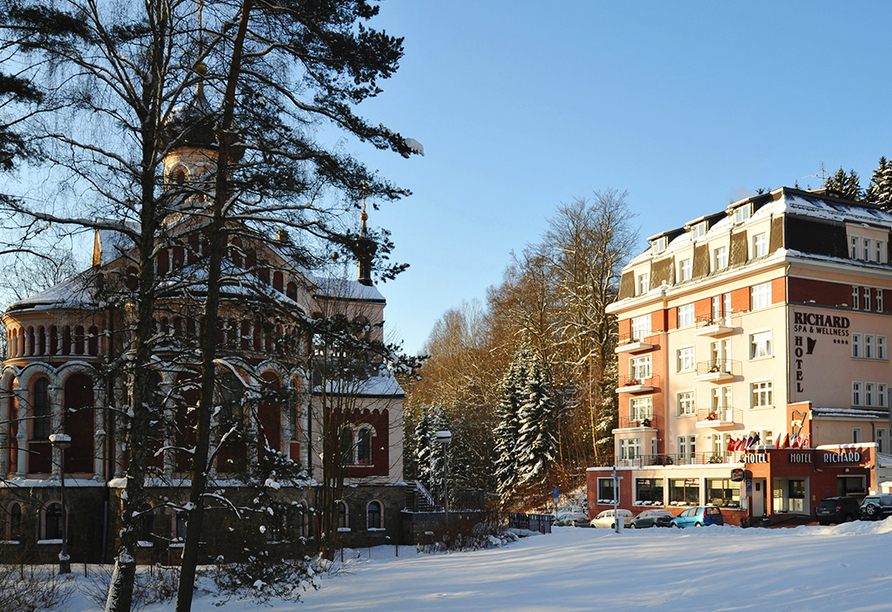 Hotel Richard in Marienbad in der Tschechischen Republik, Winter
