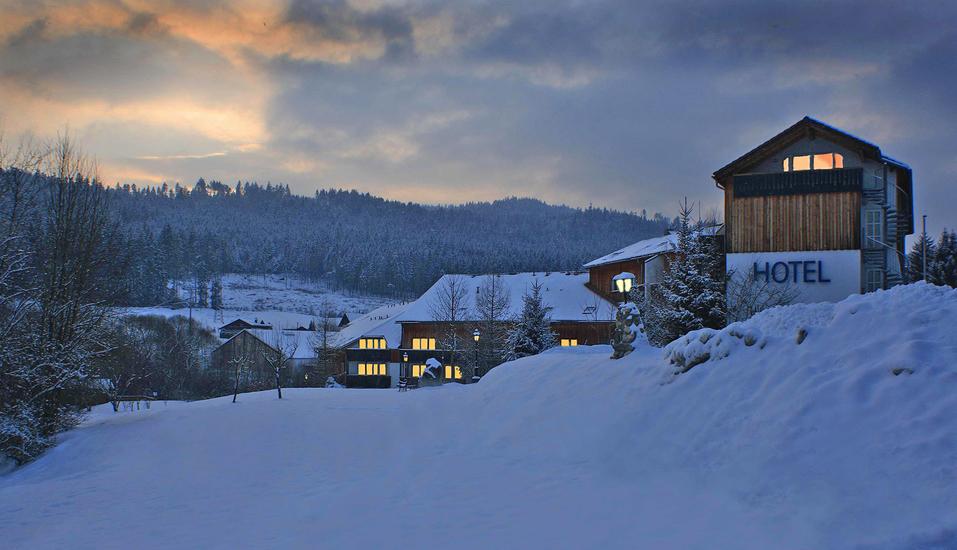 Hotel am Pfahl in Viechtach, Außenansict Winter