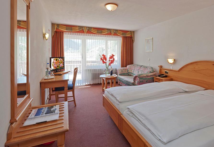 Beispiel eines Doppelzimmers im Hotel Walliserhof in Täsch