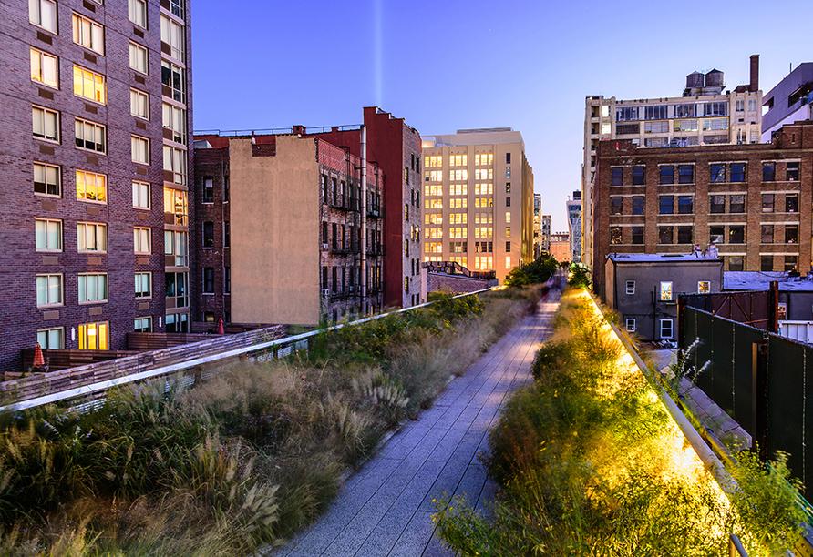Schlendern Sie durch den High Line Park von New York, der sich auf einer 2,3 km langen, stillgelegten Hochbahntrasse befindet.