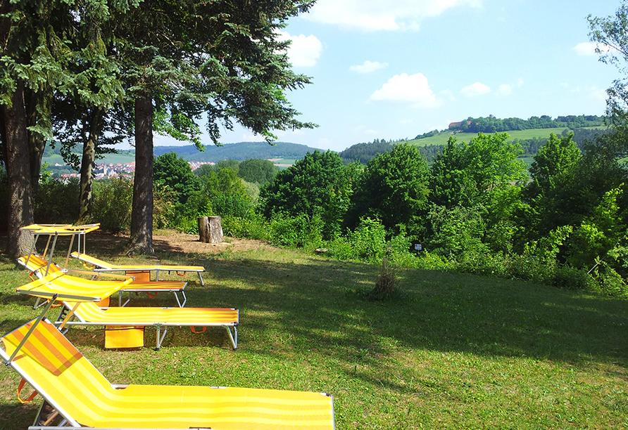 Vitalhotel König am Park in Bad Mergentheim im Tal der Tauber, Liegewiese