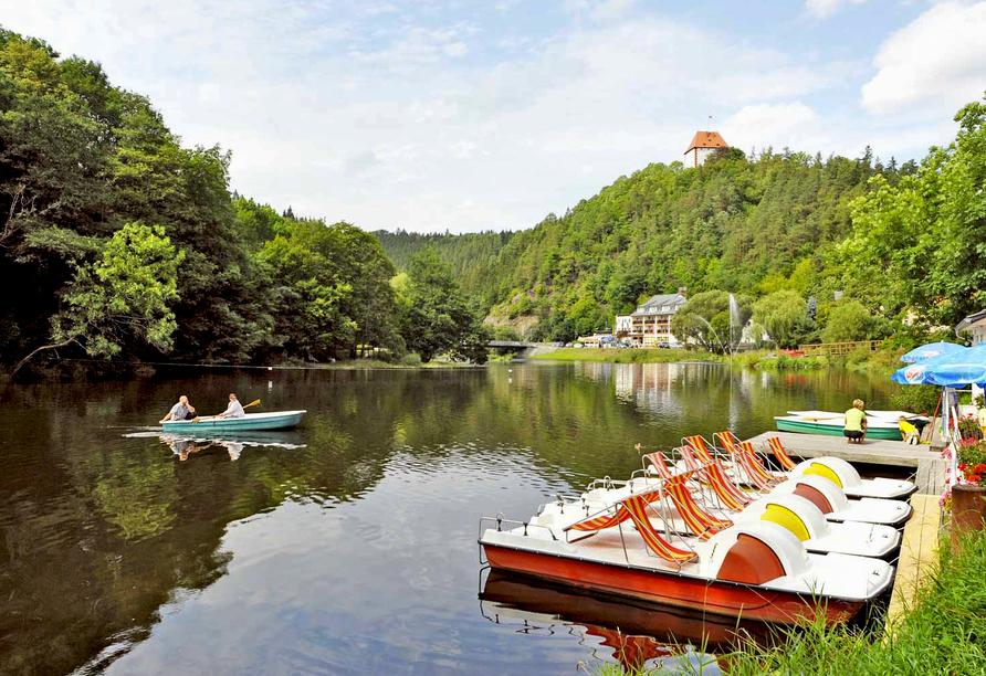 Hotel am Schlossberg in Ziegenrück an der Saale, Tretboote