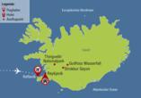 Reisezielkarte für Rundreise auf Island.
