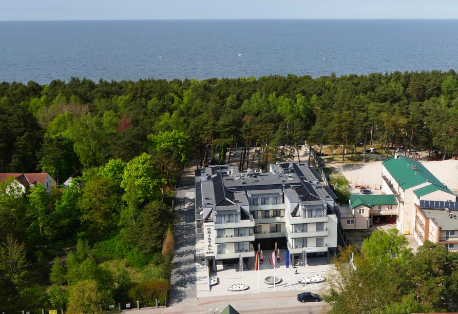 Hotel Cristal Spa in Dzwirzyno an der polnischen Ostsee, Luftaufnahme