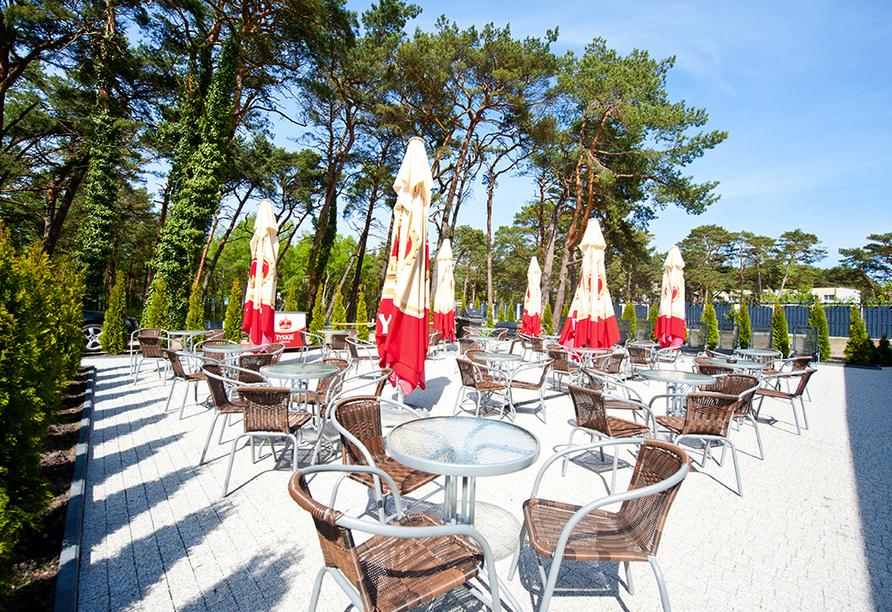 Hotel Cristal Spa in Dzwirzyno an der polnischen Ostsee, Terrasse