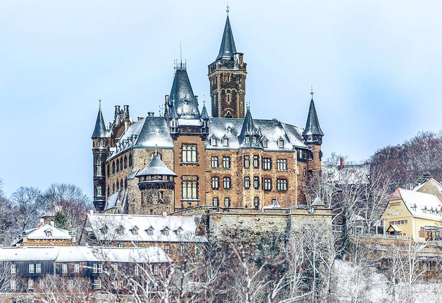 Waldhotel Altenbrak in Thale, Schloss Wenigerode im Winter