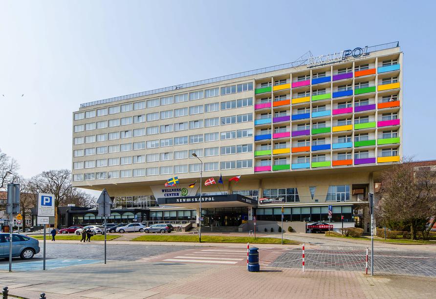 Hotel New Skanpol in Kolberg an der polnischen Ostsee Außenansicht
