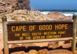 Ein Ausflug bringt Sie ans Kap der Guten Hoffnunf, an die Südspitze Südafrikas.