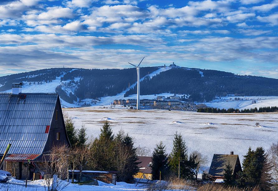 Hotel Am Kurhaus in Bad Schlema, Oberwiesentahl im Winter