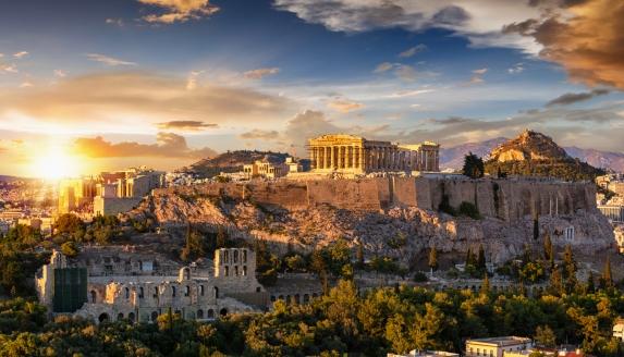 Sonnenuntergang über der Akropolis von Athen