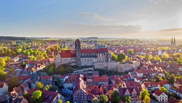 Morada Hotel Alexisbad in Harzgerode, Ausblick über Quedlinburg