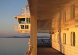 MS Vesterålen, Aussicht vom Deck