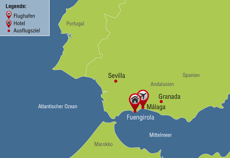 Standortrundreise Andalusien, Reisezielkarte