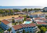 Hotel Niriides in Kolymbia, Rhodos Griechenland, Hotelanlage