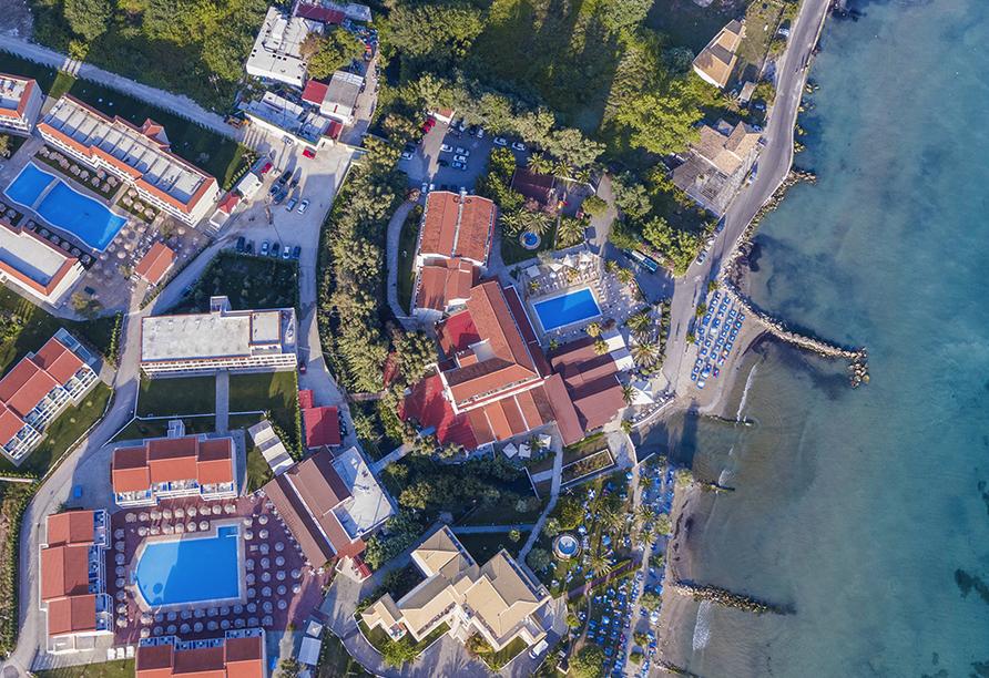 Hotel Angela Beach in Roda auf Korfu, Luftansicht