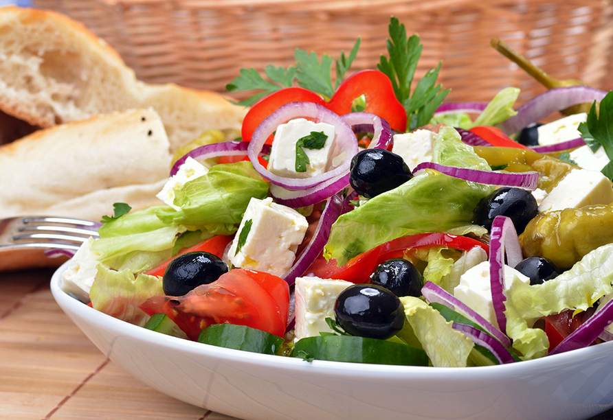 Hotel Angela Beach in Roda auf Korfu, griechischer Salat