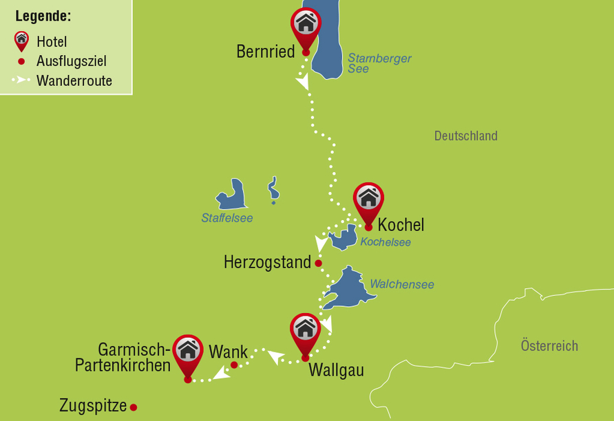 Wanderreise, Karte