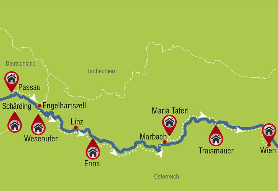 Donauradreise, Karte